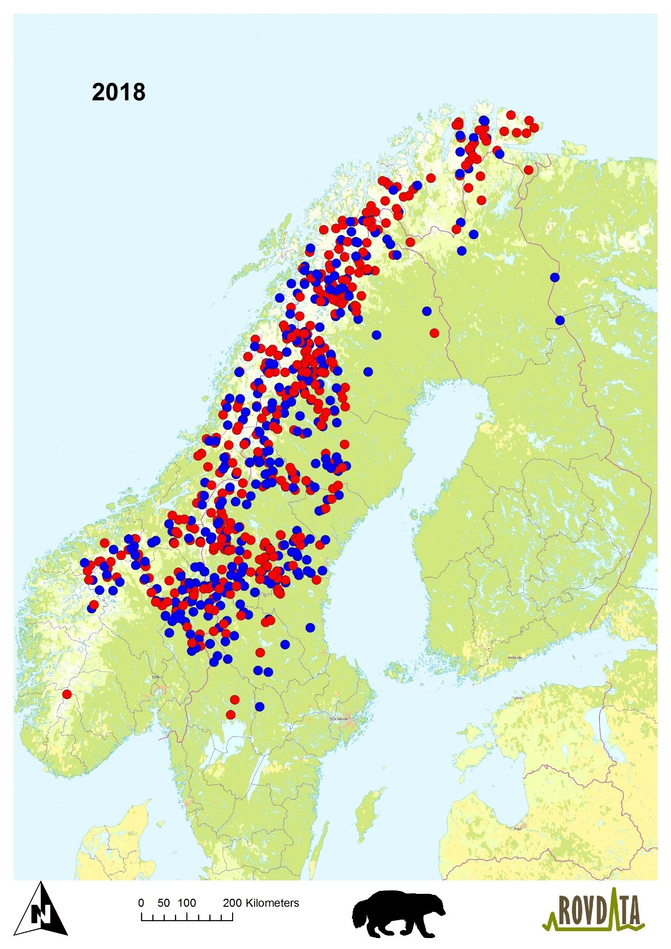 Kartet viser alle jerver som ble identifisert fra prøveinnsamlingen i Fennoskandia vinteren 2017-2018. Det vises et midtpunkt for hver jerv. Rød er tisper mens blå er hannjerver.