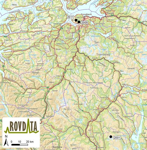 kart over byneset Jervetispa er fortsatt i Bymarka kart over byneset